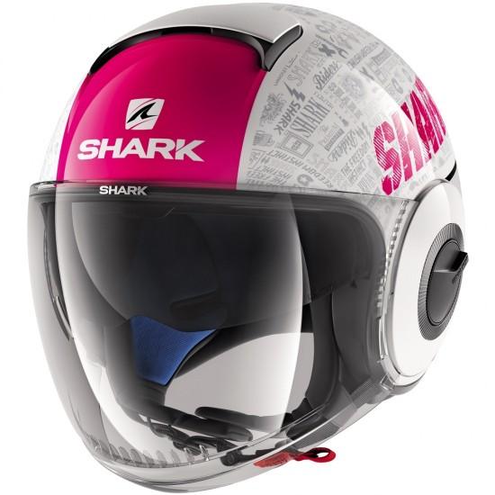 Shark Nano Tribute RM White Violet Anthracite Open Face Helmet