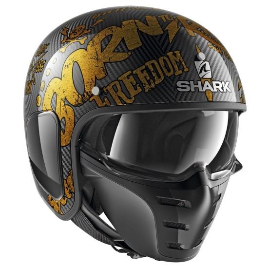 Shark S-Drak Freestyle Cup Carbon Gold Open Face Helmet