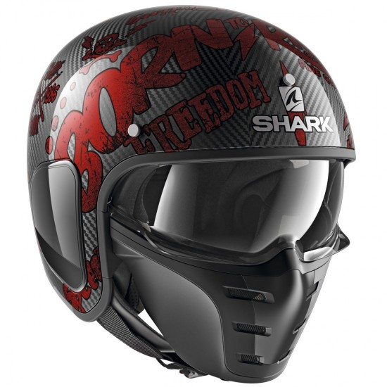 Shark S-Drak Freestyle Cup Carbon Red Open Face Helmet