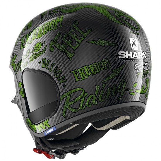 Shark S-Drak Freestyle Cup Green Carbon Open Face Helmet