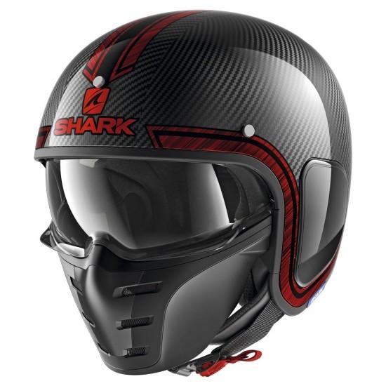 Shark S-Drak Vinta Carbon Chrome Red Open Face Helmet