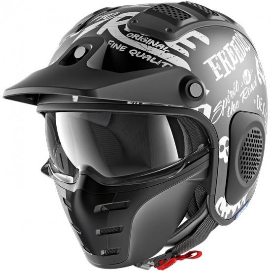 Shark X-Drak Freestyle Cup Mat Black White Open Face Helmet