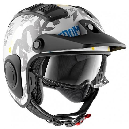 Shark X-Drak Freestyle Cup White Blue Yellow Open Face Helmet
