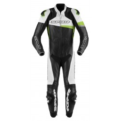 Spidi Race Warrior Perforated One Piece Leather Black Green Suit