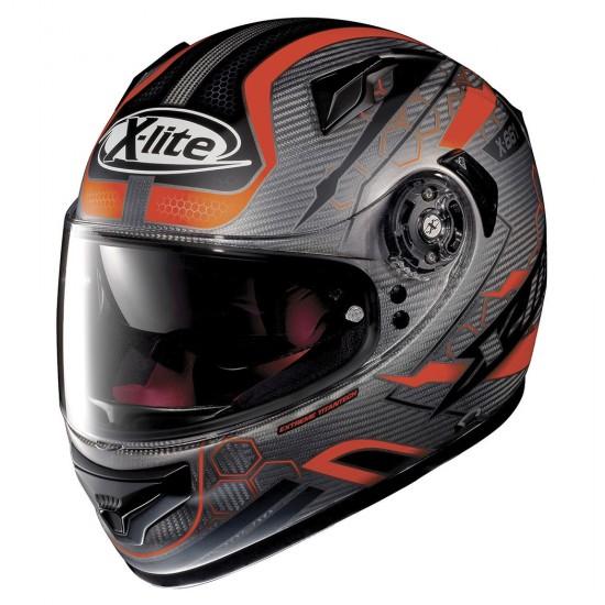 X-Lite X-661 Extreme Titantech Honeycomb N-Com Flat Titanium Red Full Face Helmet