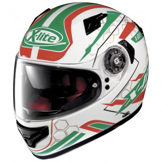 X-Lite X-661 Honeycomb N-Com Metal White Green Full Face Helmet
