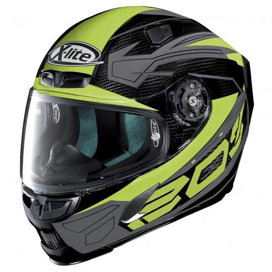 X-Lite X-803 Ultra Carbon Tester Carbon Light Green Full Face Helmet