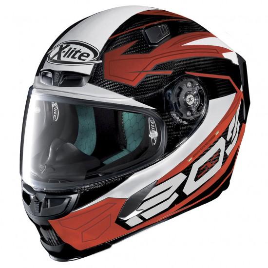 X-Lite X-803 Ultra Carbon Tester Carbon Red White Full Face Helmet