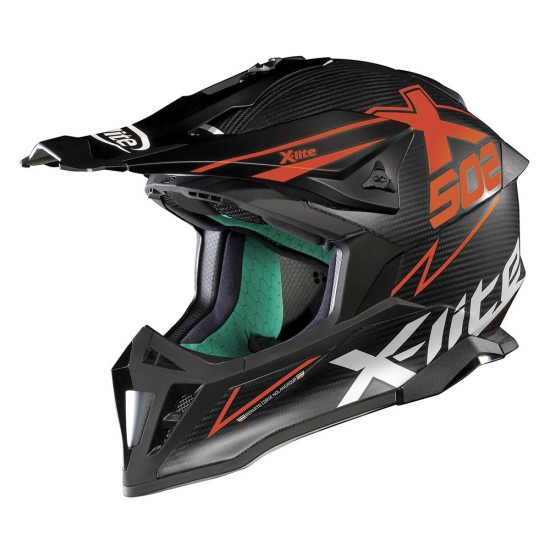 X-Lite X-502 Ultra Carbon Matris Flat Carbon Red Off Road Helmet