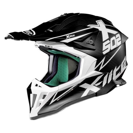 X-Lite X-502 Ultra Carbon Matris Flat Carbon White Off Road Helmet