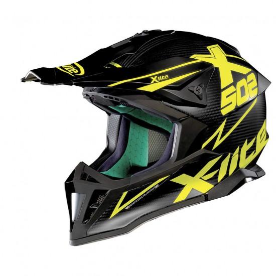 X-Lite X-502 Ultra Carbon Matris Flat Carbon Yellow Off Road Helmet